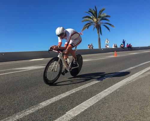 Boris Stein auf dem Rad beim IRONMAN 70.3 Barcelona