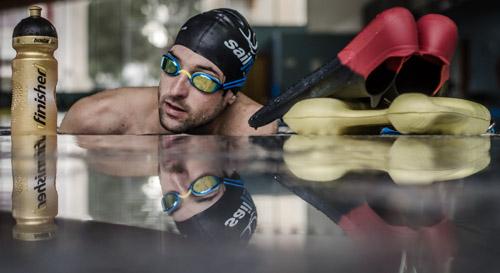 Boris Stein während des Schwimmtrainings