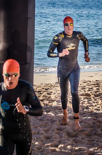 Boris Stein beim Schwimmausstieg
